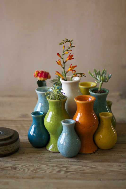set of 13 multi-colored vases