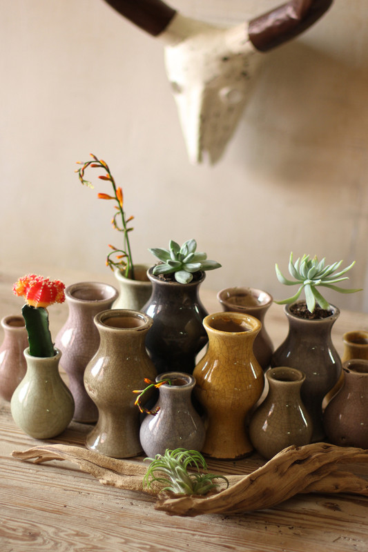 set of 13 ceramic earth tone vases