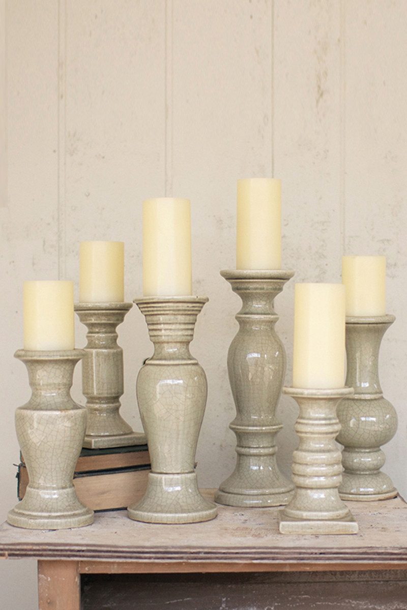 Set Of 6 Grey Ceramic Candle Holders