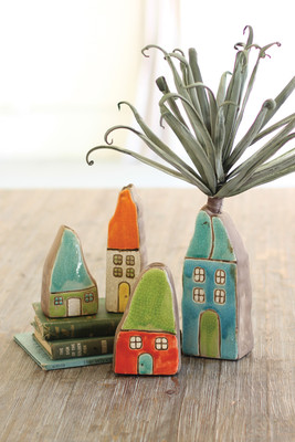 ceramic house bud vases