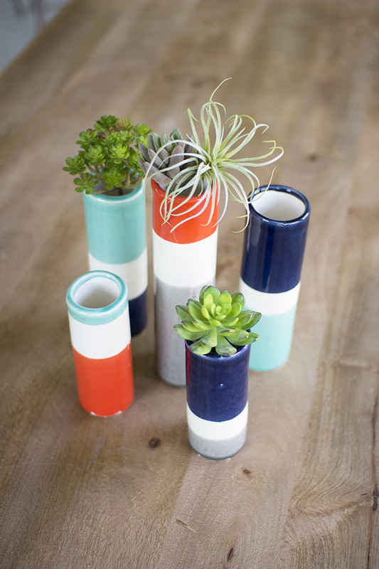 set of 5 striped shoreline bud vases