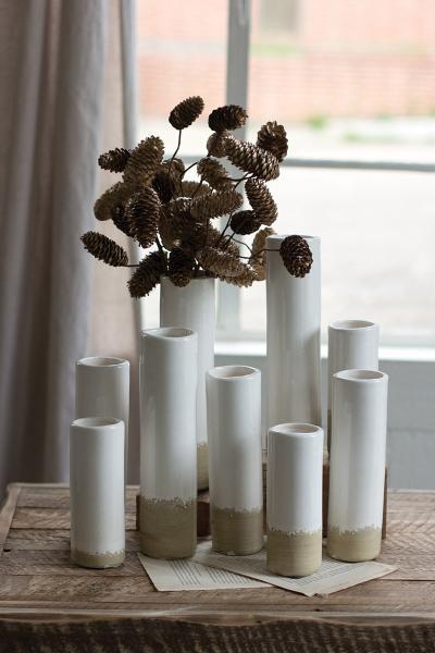 set of 9 white ceramic cylinder bud vases