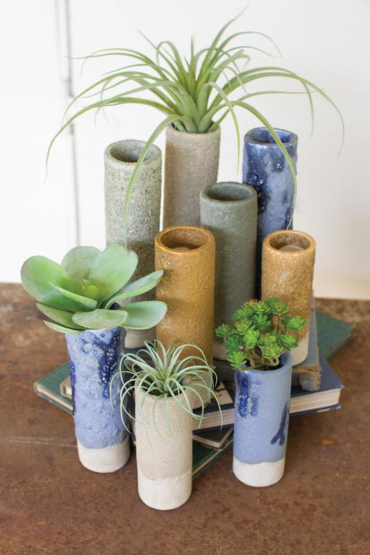 set of 9 textured cylinder bud vases