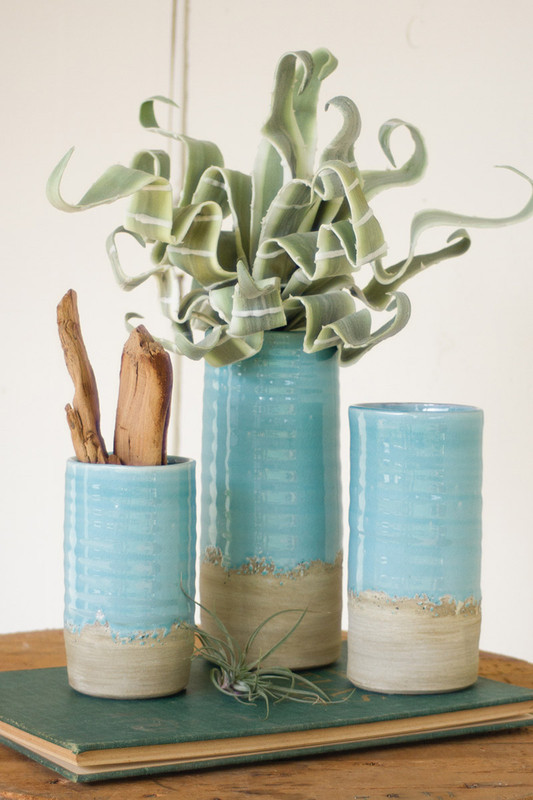 set of 3 ceramic cylinder vases - light blue