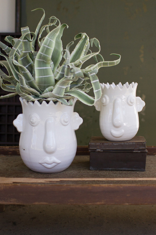 set of 2 funky white ceramic face planters