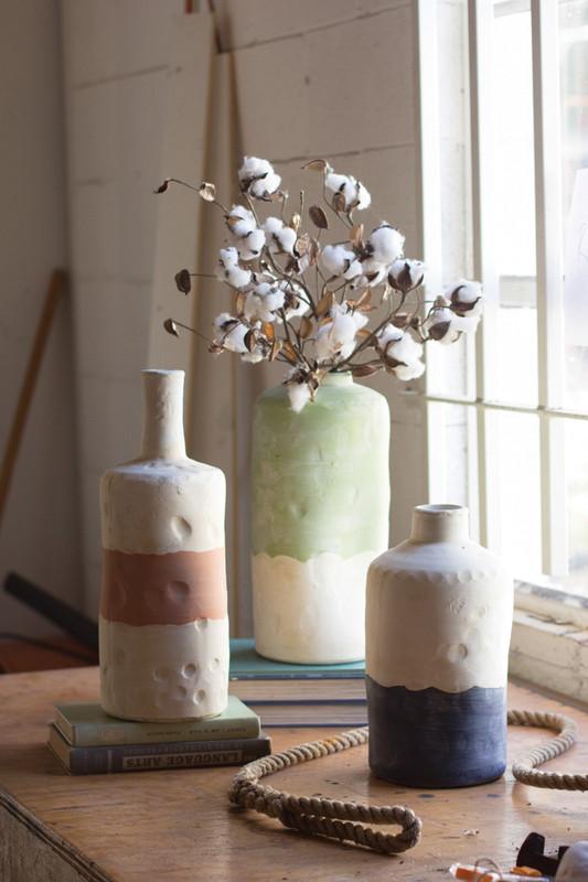 set/3 ceramic bottle vases - rose, mint, navy