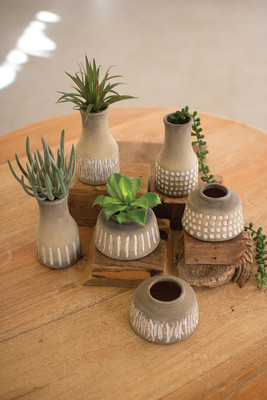 CERAMIC VASES- NATURAL AND WHITE