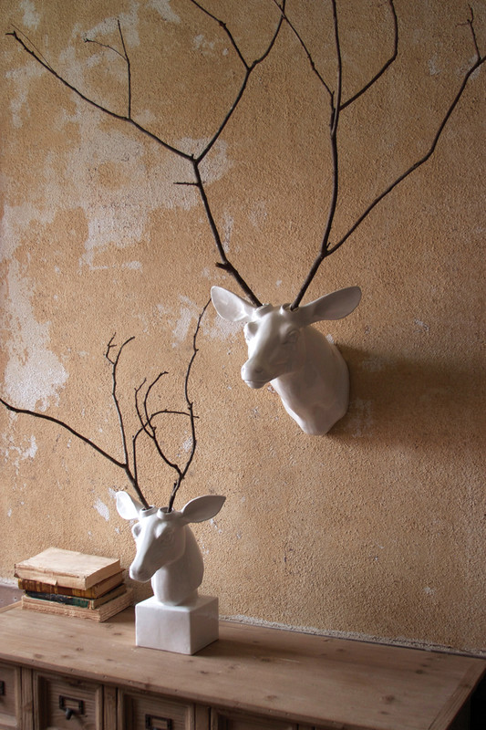 ceramic deer head - wall mount