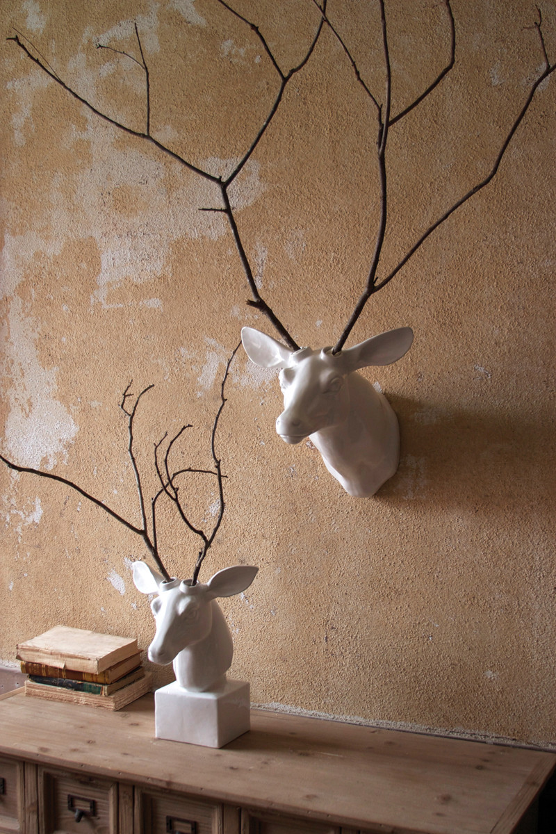 White Ceramic Mounted Deer Head Tabletop Version