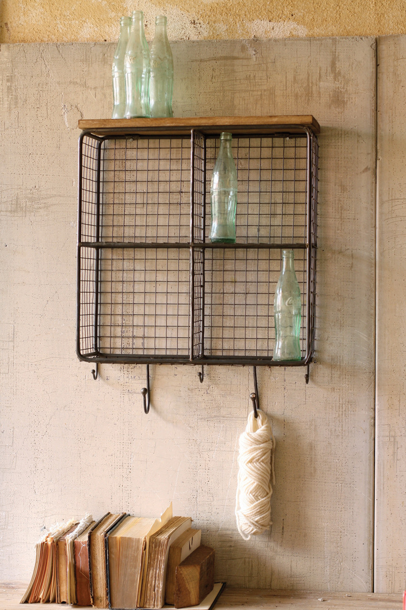 Completely new WIRE MESH FOUR SQUARE CUBBIES WITH WOODEN TOP GV98