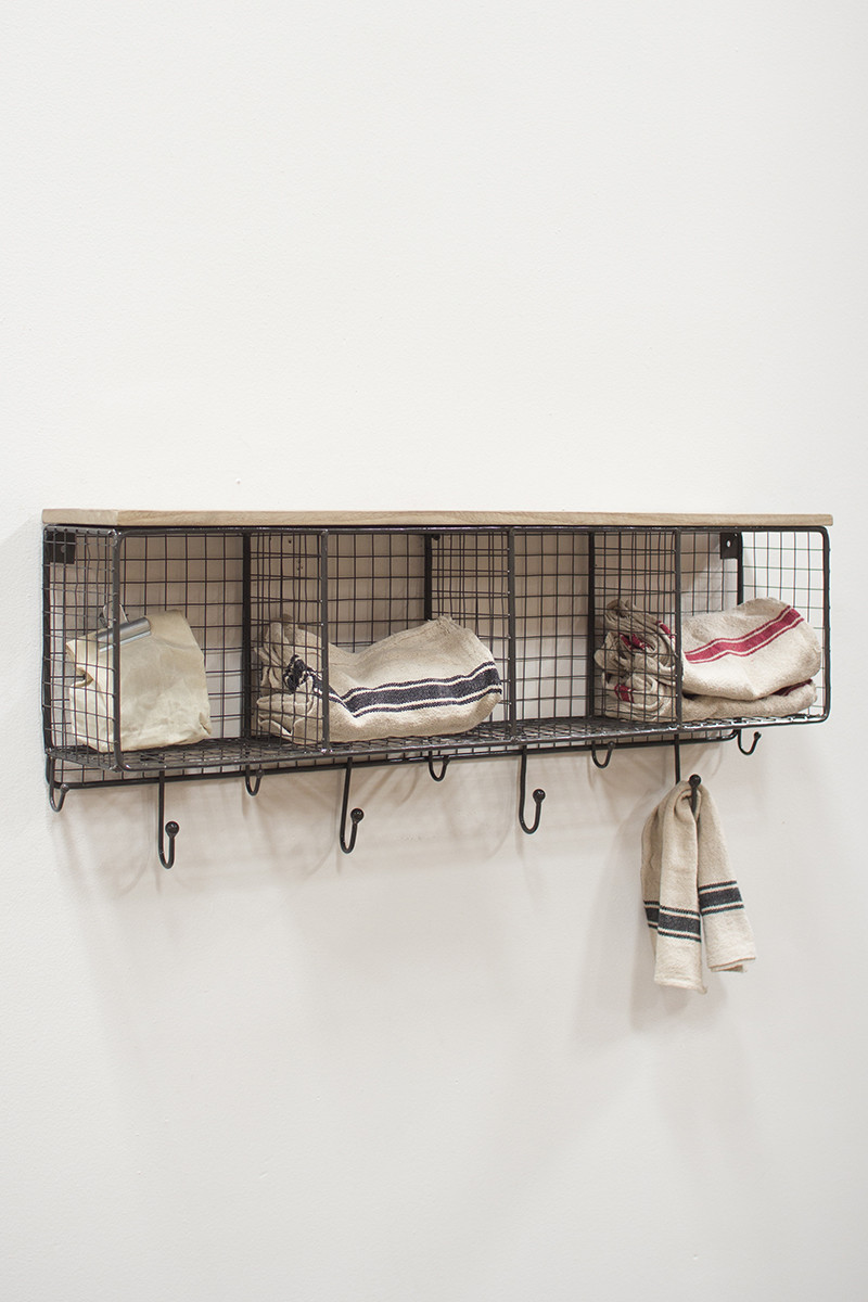 Brand new WIRE MESH FOUR HORIZONTAL CUBBIES WITH WOODEN TOP CV48