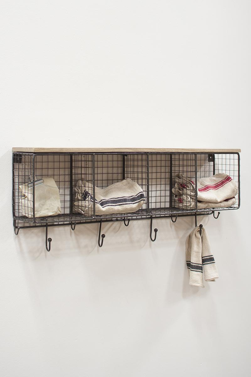 Horizontal Wire Cubby With Hooks