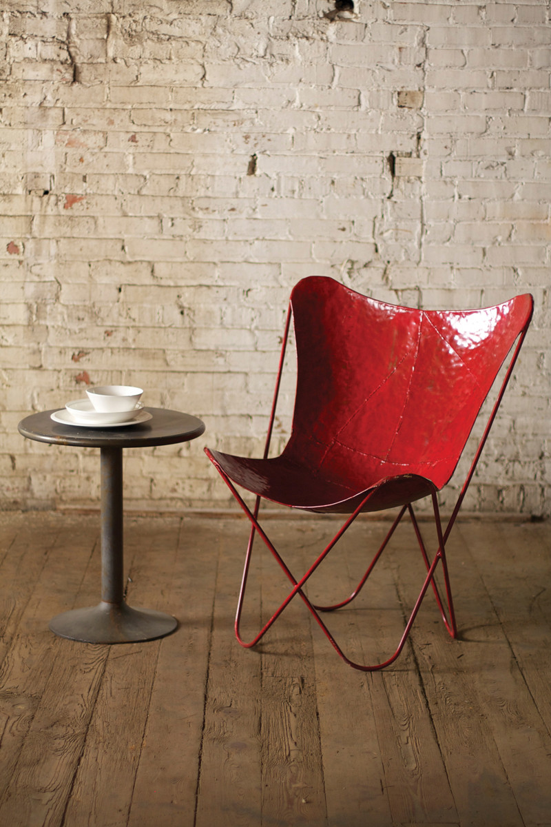 Iron Butterfly Chair Industrial Furniture Antique Red