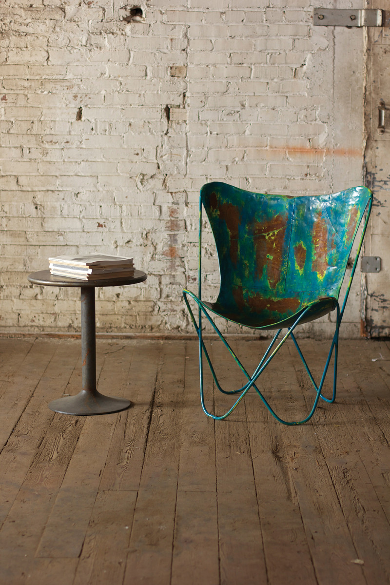 Home distressed blue metal butterfly chair