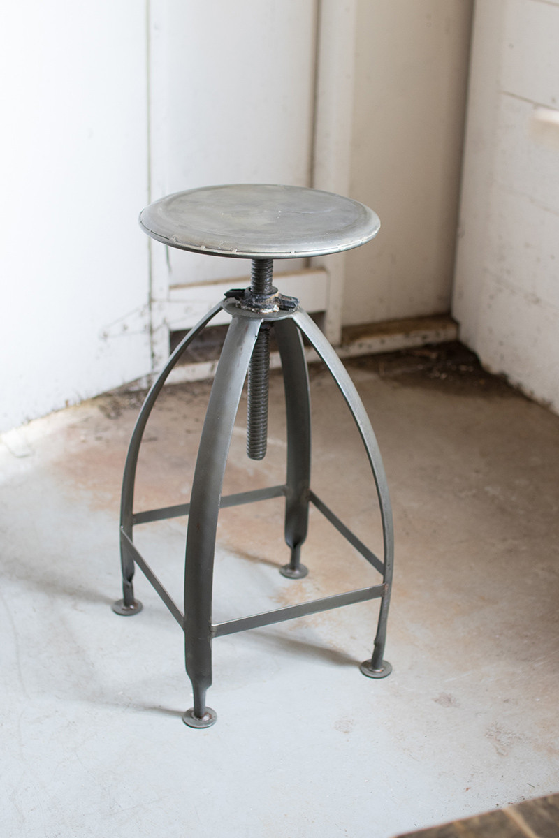 Metal Stool With Adjustable Seat Antique White Base With