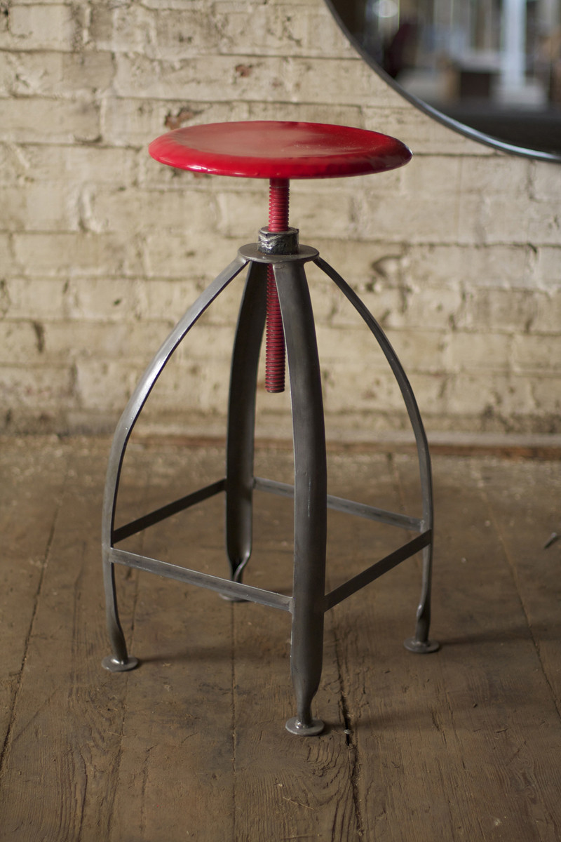 Metal Stool With Adjustable Seat With Raw Metal Base And Red Top