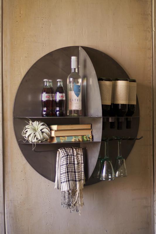 round metal wall wine bar