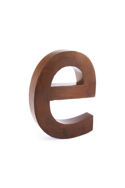 rustic metal letter - E