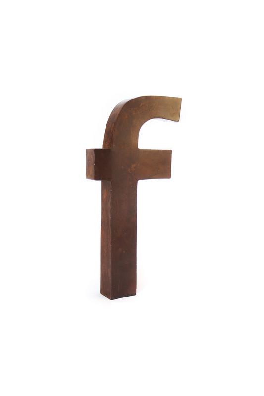rustic metal letter - F