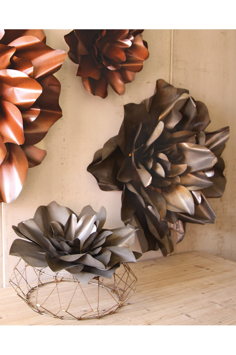 Raw Metal Flower Wall Hangings Flower Sculpture Metal