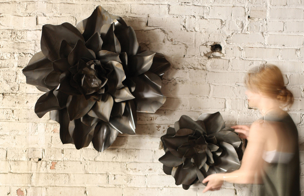 Metal Wall Art Flowers raw metal flower wall hangings | flower sculpture | metal flower