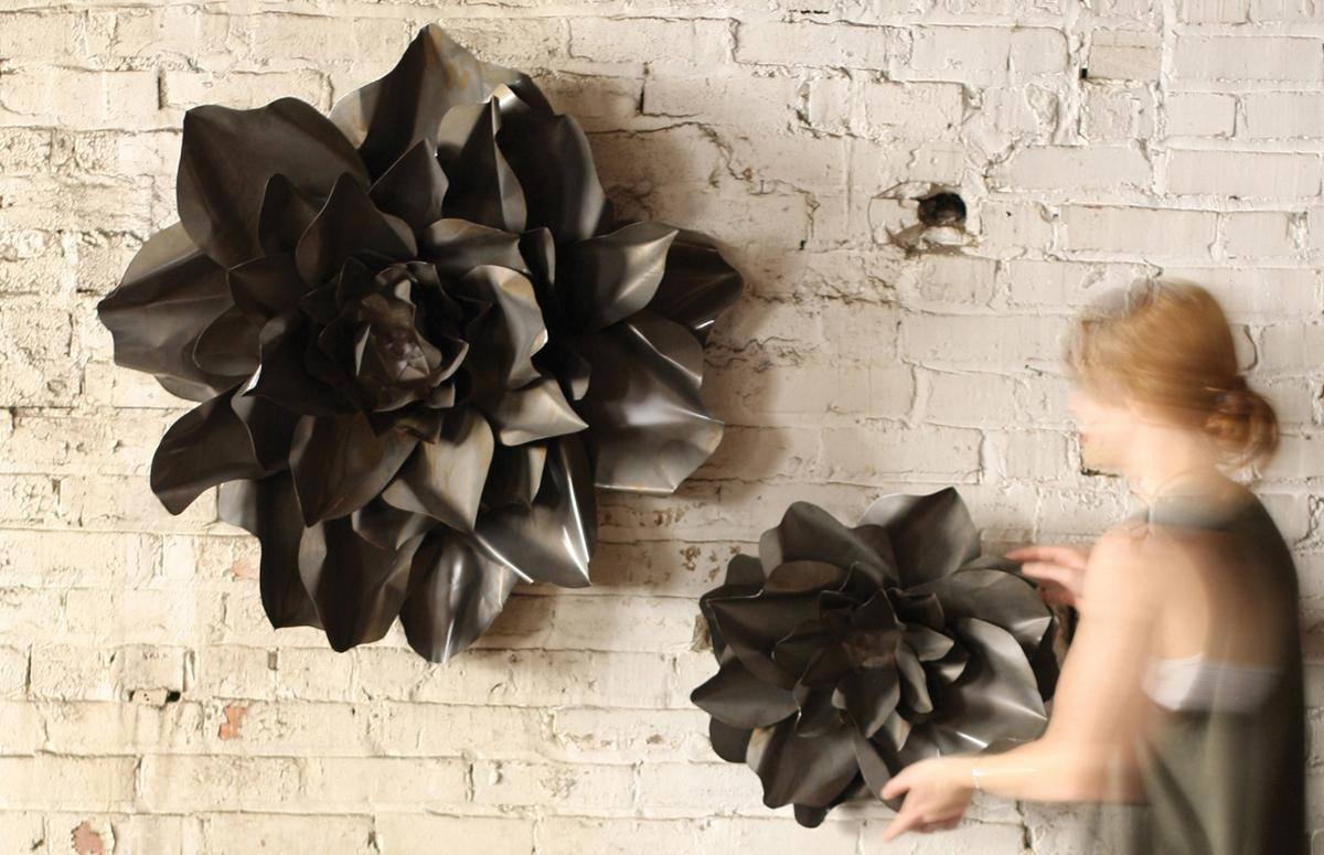 Amazing Set Of Two Flower Wall Hangings   Raw Metal ...