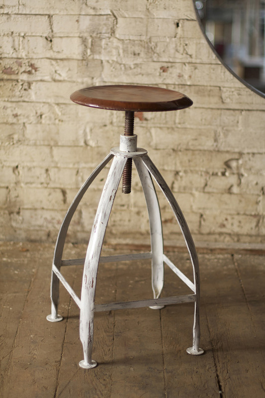 metal stool with adjustable seat - white