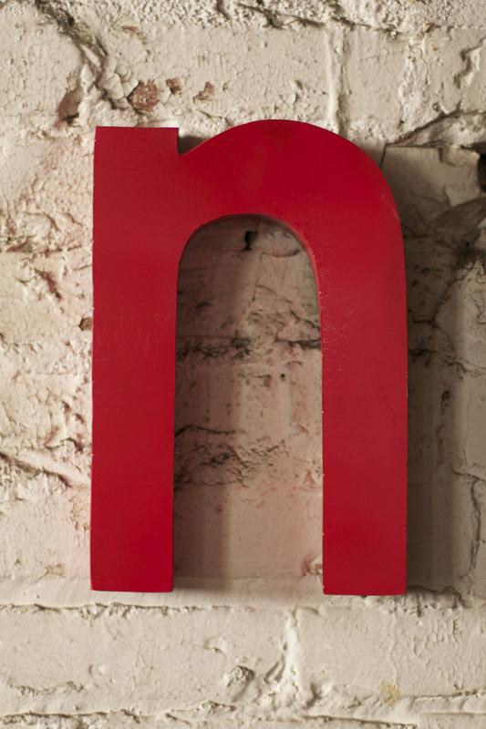 red metal letter - N