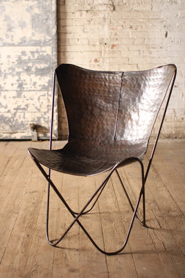 antique black iron butterfly chair