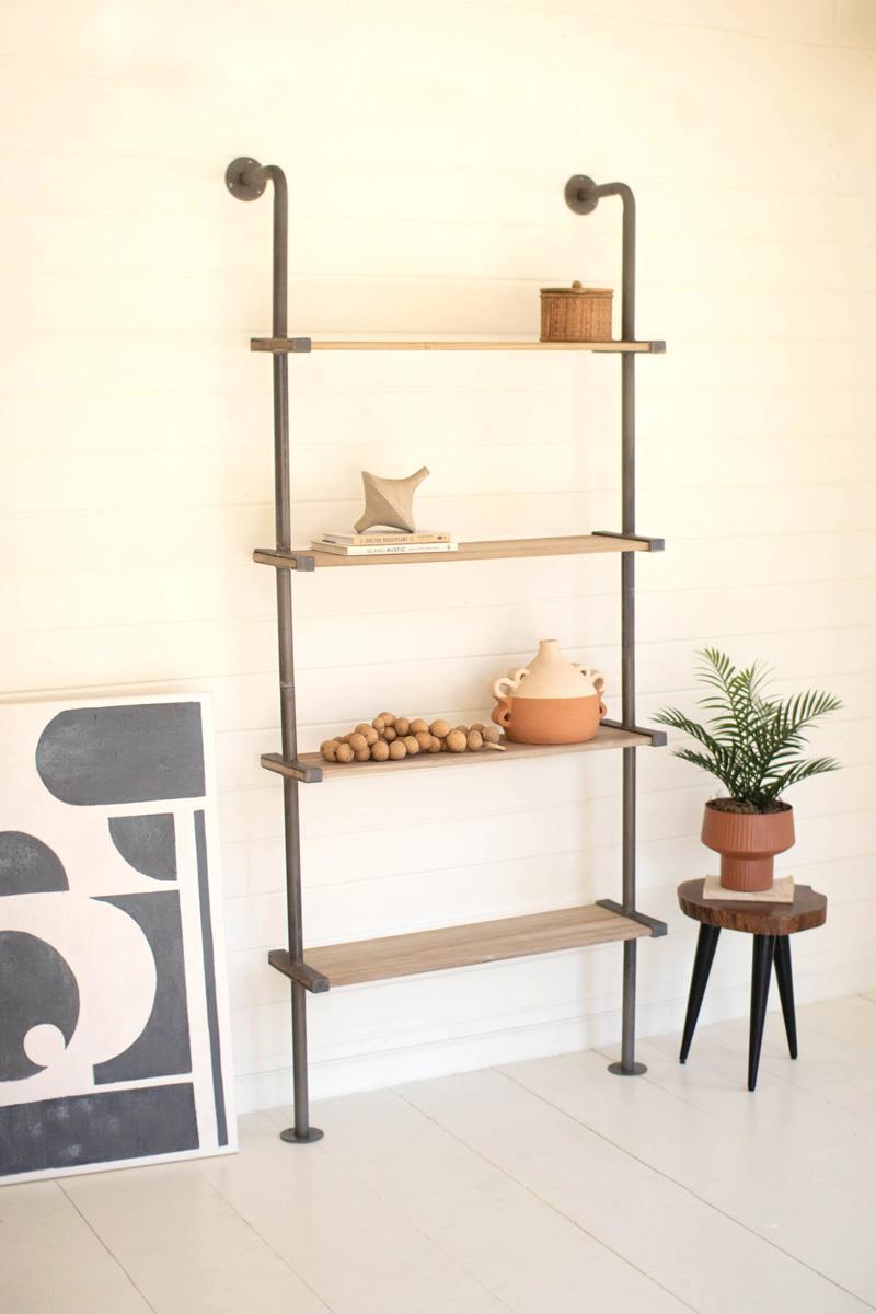 tall wood and metal wall shelving unit