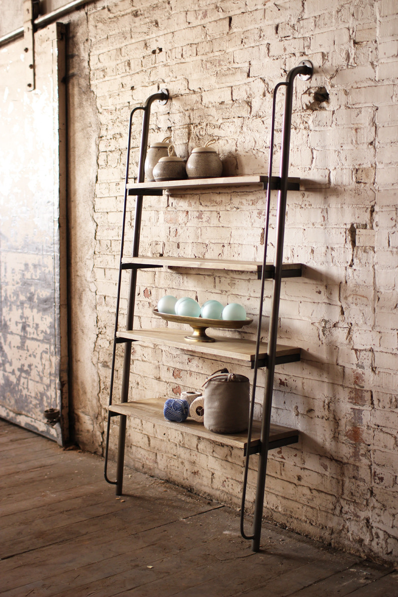 large wood and metal leaning shelving unit. Black Bedroom Furniture Sets. Home Design Ideas