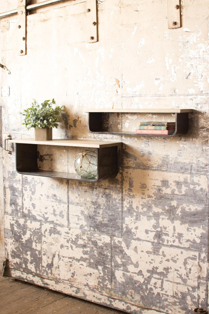 Wood And Metal Wall Shelves of 2 wood and metal wall shelves