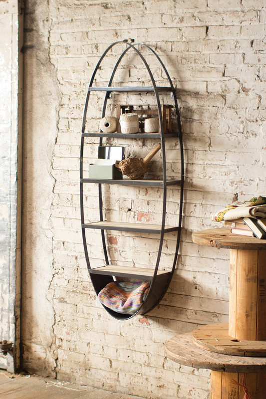 wood and metal oval shelf