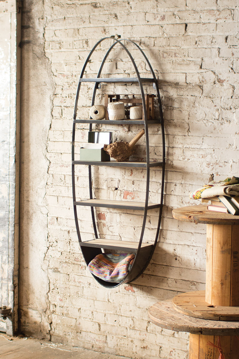 wood and metal oval shelf. Black Bedroom Furniture Sets. Home Design Ideas