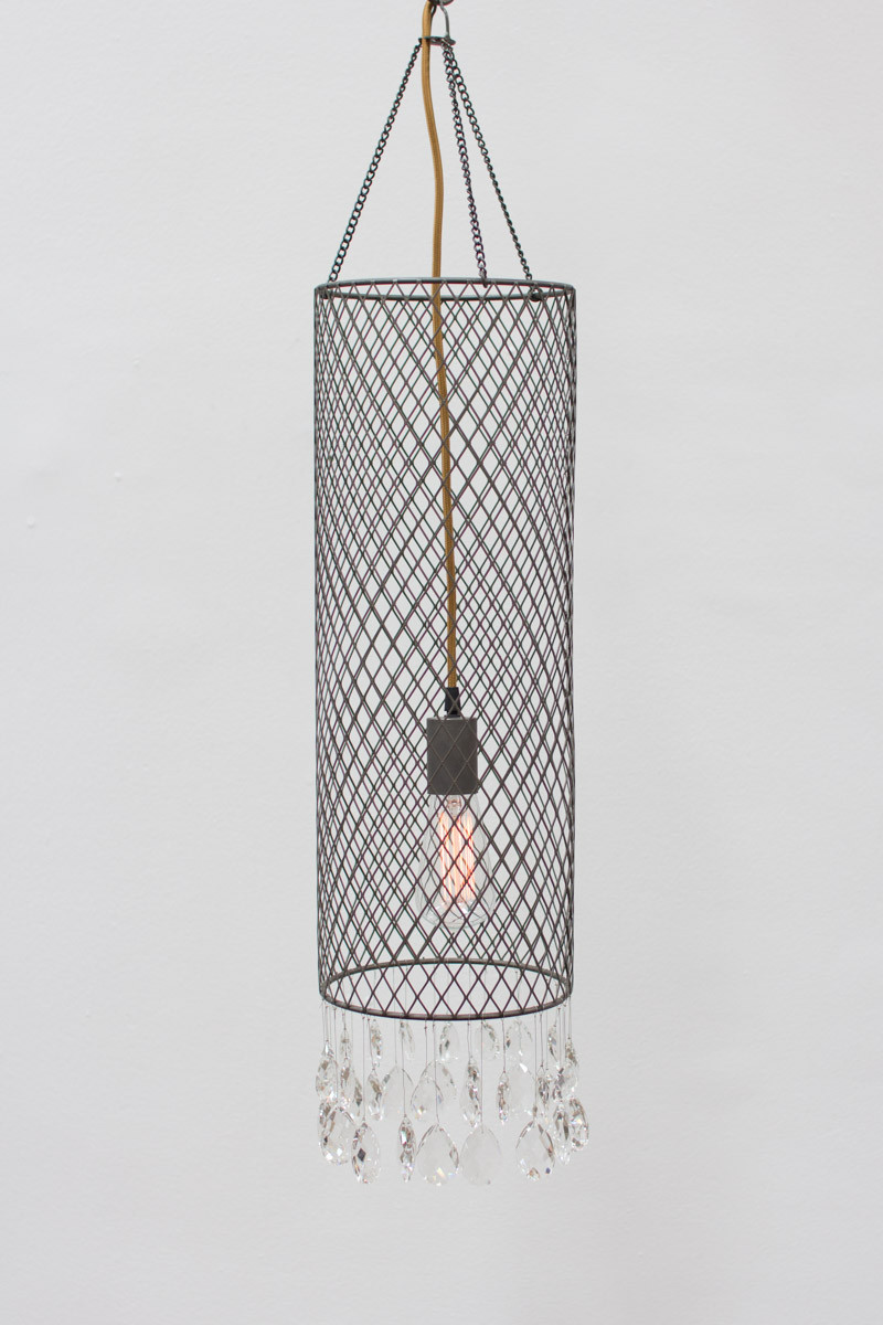 wire mesh cylinder pendant light with glass gems