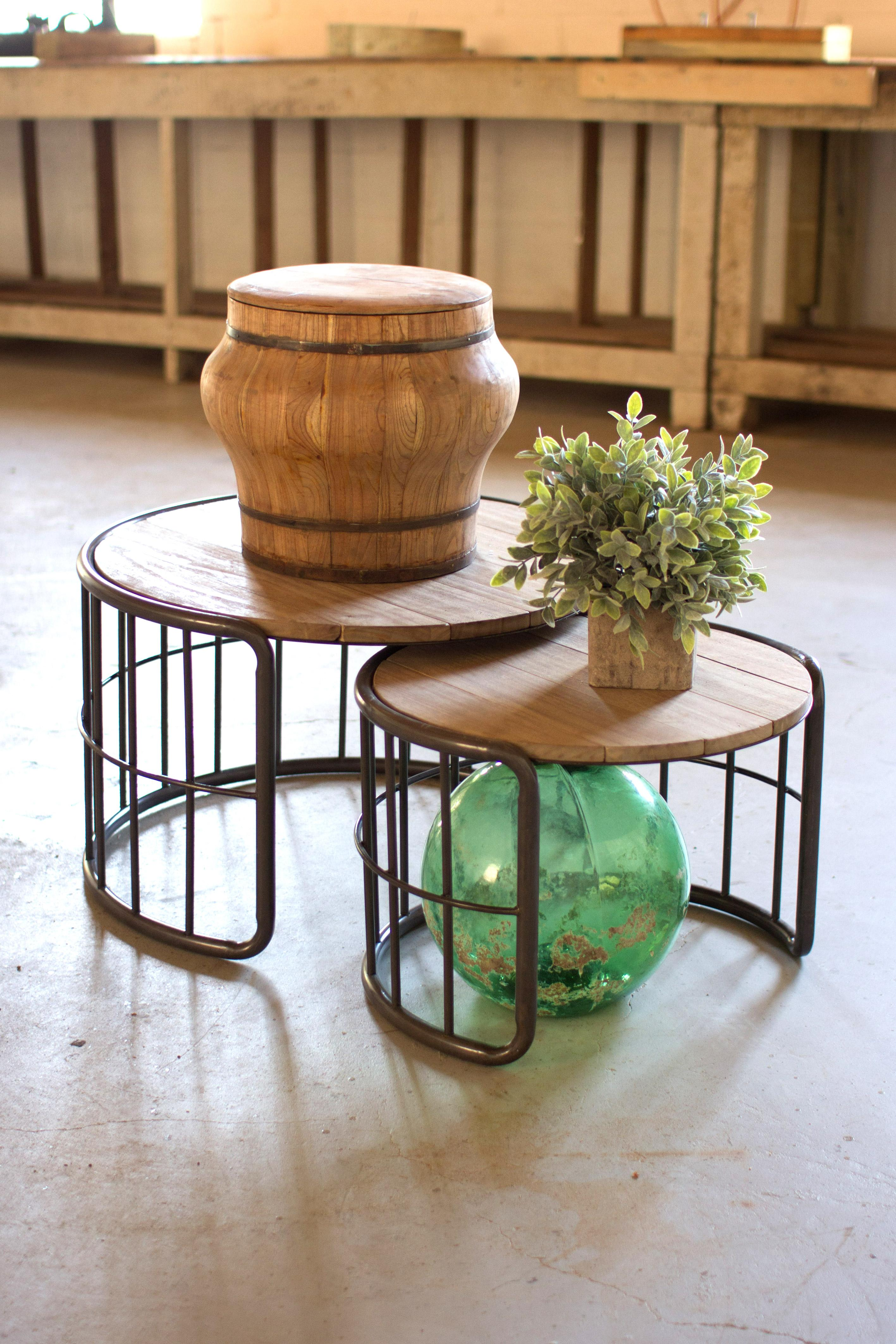 set of 2 wood and metal nesting coffee tables