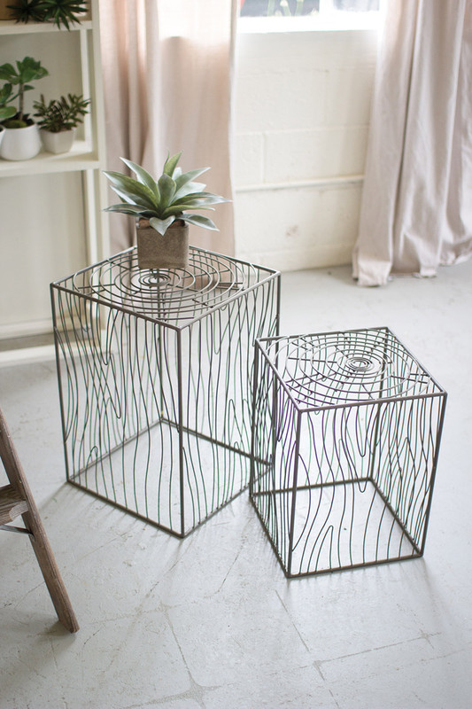 set of 2 wire woodgrain accent tables