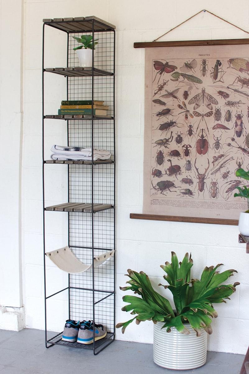 Delicieux Wood And Metal Storage Tower With Canvas Sling Shelf ...