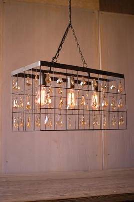 large rectangle pendant light with amber gems