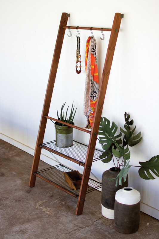 wood and wire leaning display unit