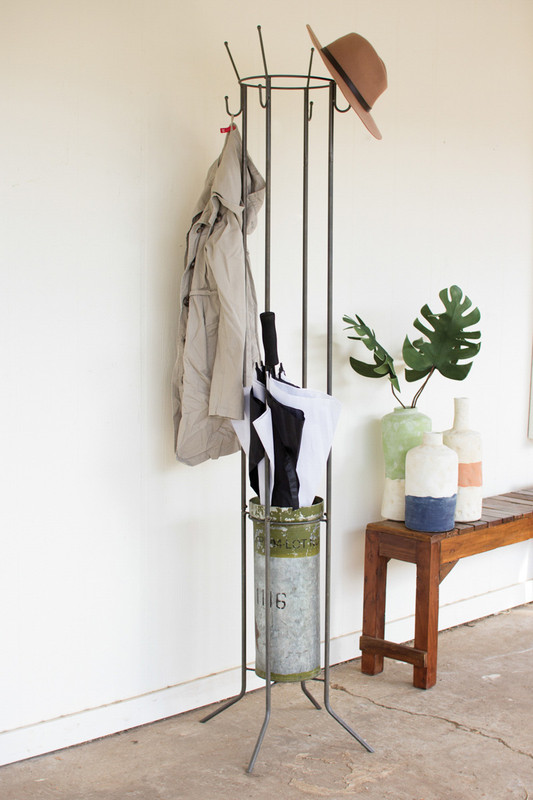 metal floor umbrella stand with military canister