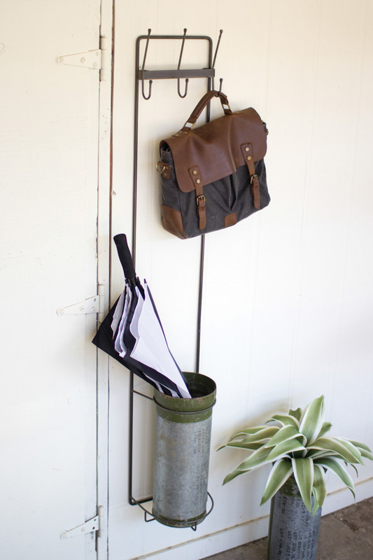 metal wall coat rack and umbrella stand with military canister