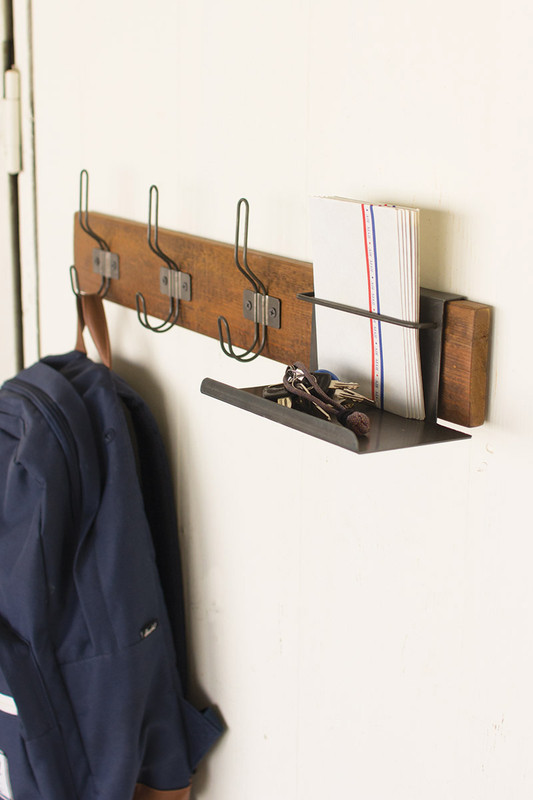 metal and recycled wood coat rack with organizer