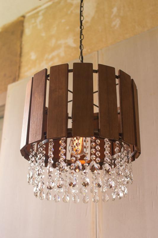 slat wood pendant light