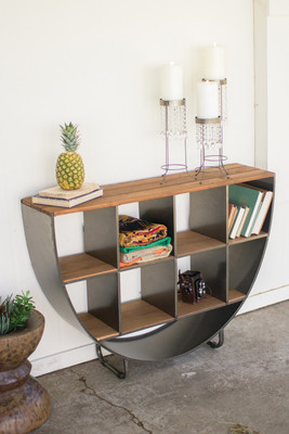 Semi Circle Console with Recycled Wood Cubbies