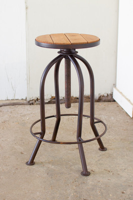 Completely new adjustable industrial blue finish bar stool with recycled wood VX84