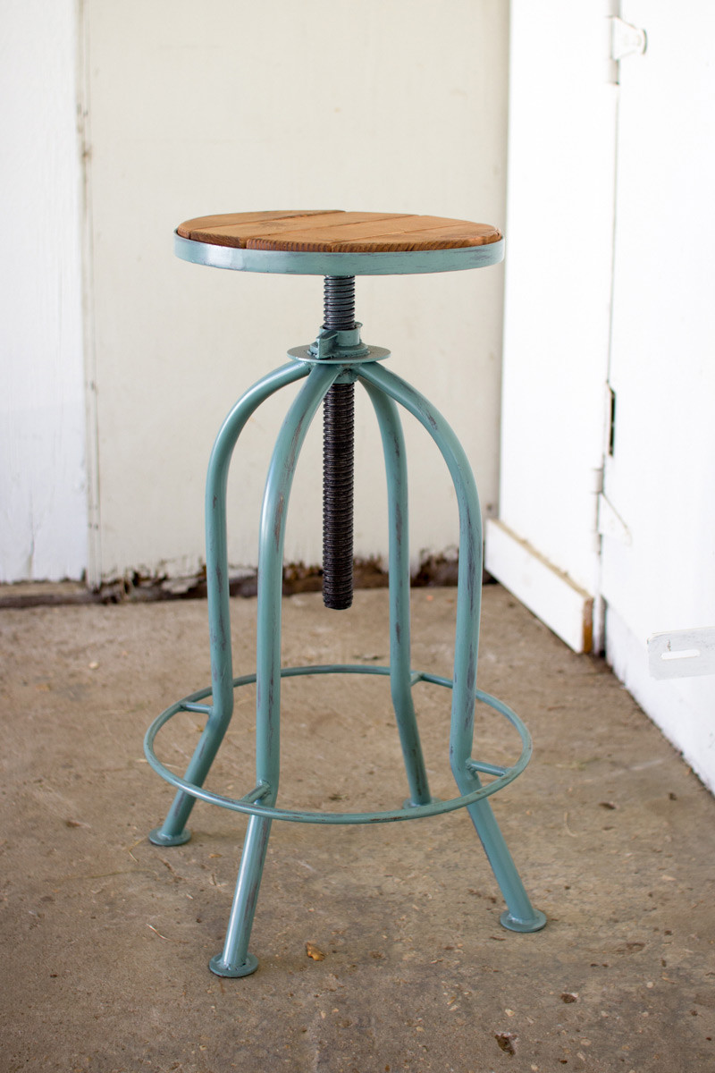 Adjustable Industrial Blue Finish Bar Stool With Recycled Wood