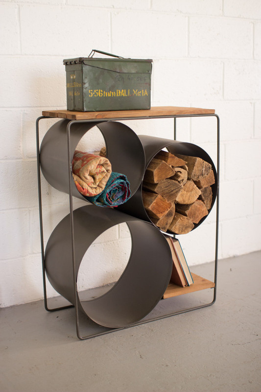 Honey Wood & Raw Metal Shelf with Round Compartments
