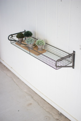 WIRE BASKET WALL SHELF WITH BRACKET