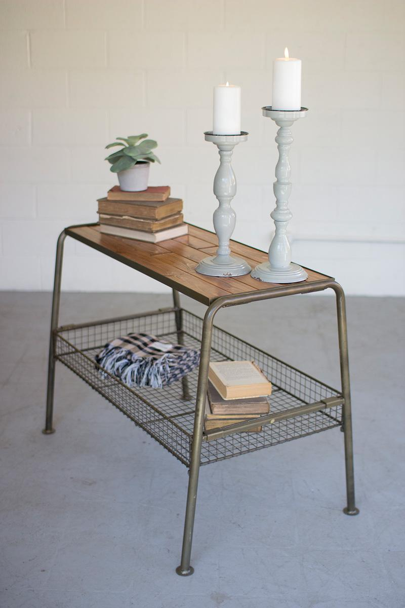 furniture metal. Wood And Metal Console With Wire Mesh Lower Tray Furniture